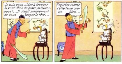 Didi Fils infortuné de monsieur Wang, victime du redoutable « poison qui rend fou ». Il apparaît dans Le Lotus Bleu comme l''apôtre original et délirant de Lao-tseu, poursuivant une idée fixe : Couper la tête de ceux qui le croise. Il s''attaque à Tintin, milou et à ses propres parents.